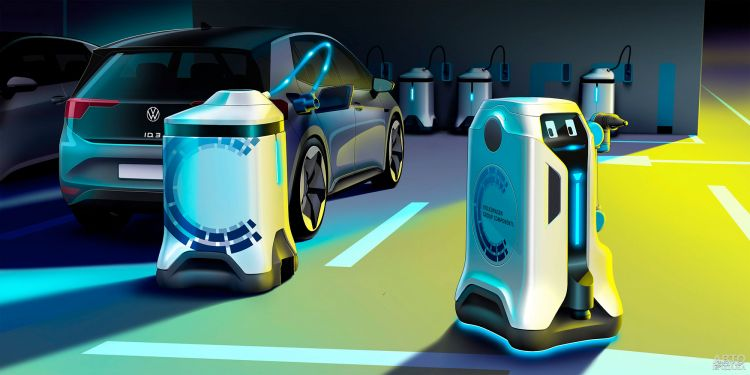 Volkswagen разработал робота для зарядки электромобилей