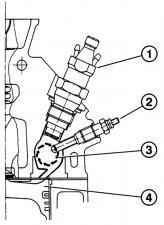 Головка блока цилиндров с вихревой камерой. 1 - форсунка, 2 - свеча накаливания, 3 - вихревая камера