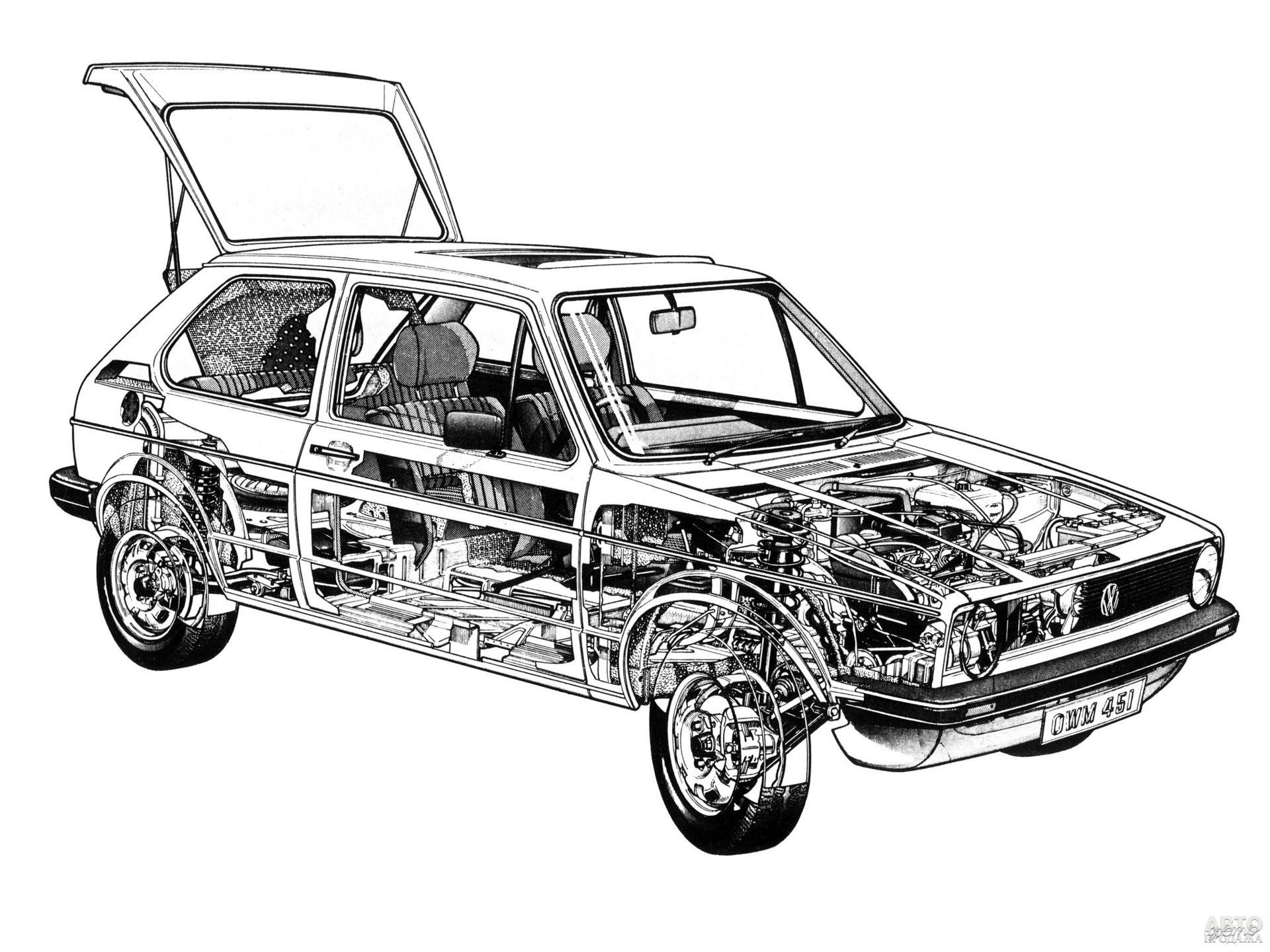Golf сделали переднеприводным и с поперечным расположением двигателя