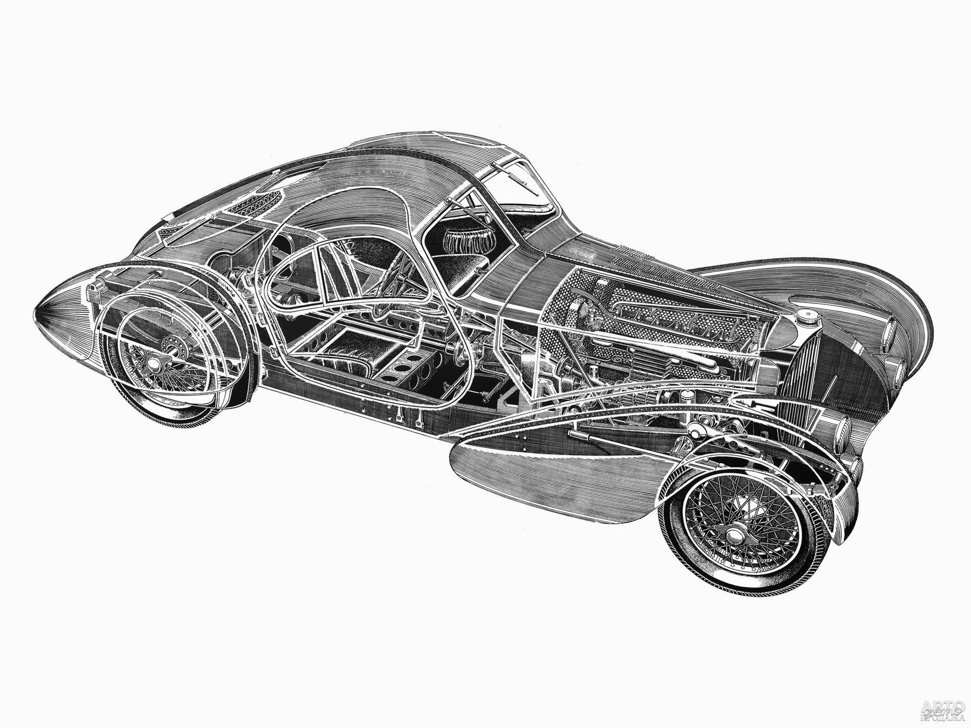Шасси для Туре 57 позаимствовали у Bugatti Type 49, а двигатель – у Type 59