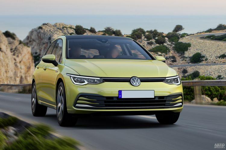 Узкие фары и огромный воздухозаборник в бампере – черты нового «лица» Volkswagen Golf