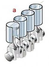 А) Рядная схема. Такая схема используется при небольшом количестве цилиндров (от двух до шести). Главным преимуществом является то, что моторы такого типа легче всего поддаются уравновешиванию. Недостаток – внушительная длина