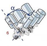 Б) V-образная схема. Такая компоновка позволяет значительно сократить длину мотора, но при этом увеличивает его ширину. Наиболее распространенные V6 и V8