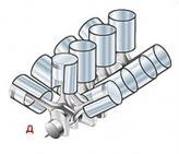 Д), Е) W-образная схема. Существует два варианта компоновки – три ряда цилиндров с большим углом развала (д) и совмещение двух VR-образных схем (е). В настоящее время выпускаются W8 и W12