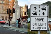 """Там, где дорожный трафик невелик, дело может ограничиться разметкой и знаками вроде """"Держитесь правой стороны"""" или """"Держитесь левой стороны"""""""