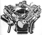 Двигатель Chrysler FirePower, один из первых с полусферическими камерами, в своей наимощнейшей версии развивал 390 л. с.