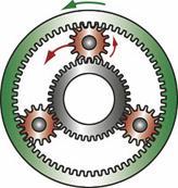 Повышающая передача получается за счет затормаживания солнечной шестерни, а ведомым звеном в этом случае является кольцевая передача