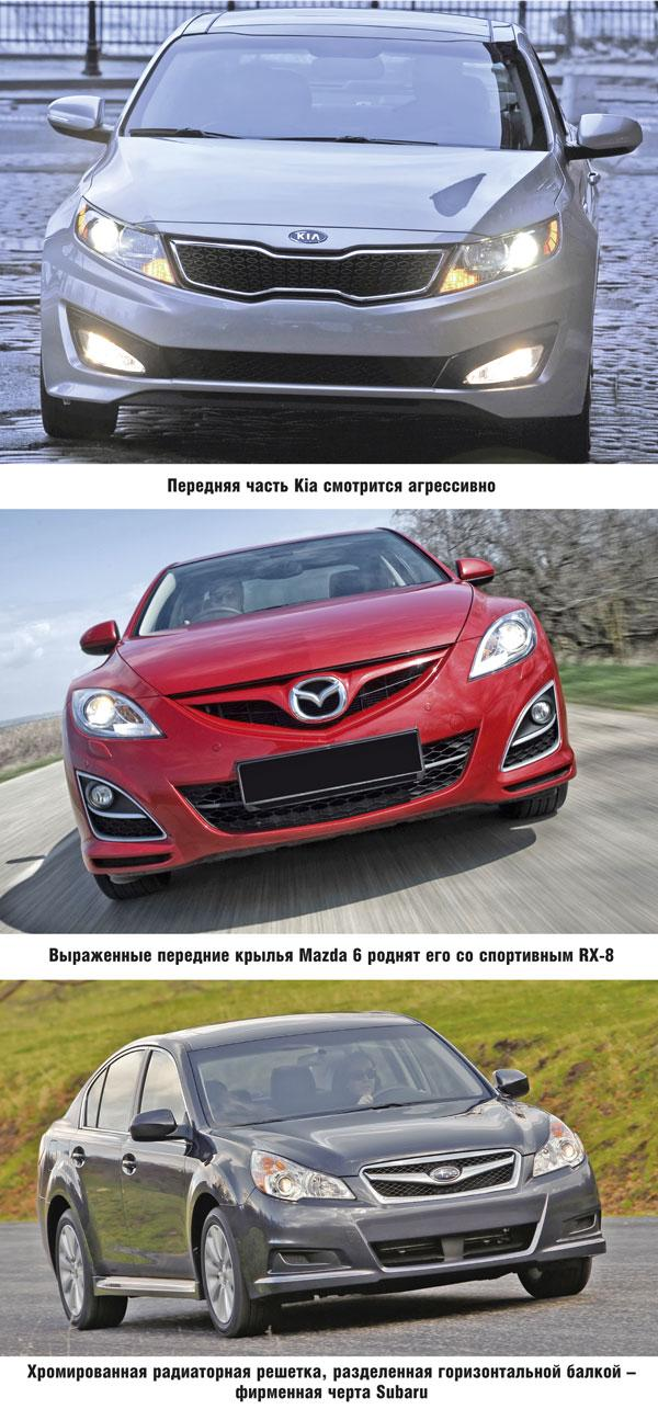 Kia Optima, Mazda 6 и Subaru Legacy: поединок за средний класс