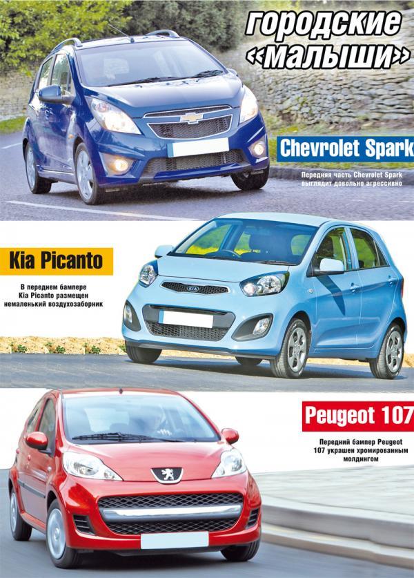 Chevrolet Spark, Kia Picanto, Peugeot 107: городские малыши